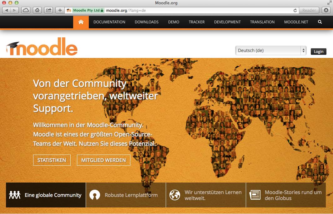 Internetseite von moodle.org